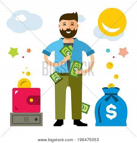 Businessman holding and counts money dollar bills in hands. Isolated on a White Background