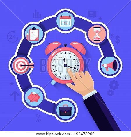 Time Management And Time Is Money Concept. Flat Style Vector Illustration