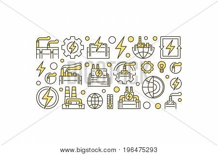 Geothermal energy vector illustration. Creative simple banner made with geothermal power signs on white background