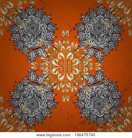 Classic vector white pattern. Floral ornament brocade textile pattern glass metal with floral pattern on orange and white background with white elements.