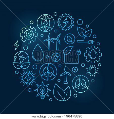 Alternative Energy circular blue illustration. Vector round creative symbol made with solar, bio, wind and water power outline icons on dark background