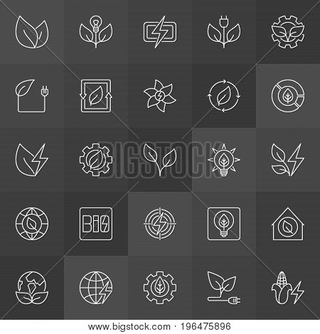 Biomass energy icons. Vector collection of bioenergy and electricity concept outline signs on dark background