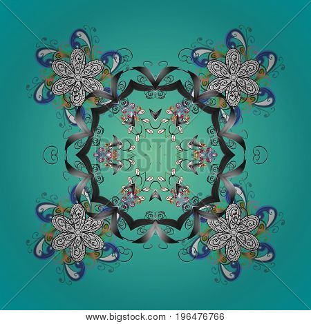 Snowflakes snowfall. Falling Christmas stylized snowflakes. Beautiful vector snowflakes isolated on colorful background. Illustration.