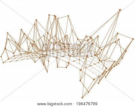 Abstract net with lines connected dots isolated.