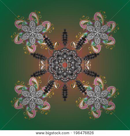 Snowflake Vector illustration. Snowflake Icon. Vector illustration. Snowflake isolated on green background.