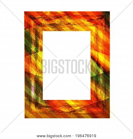 Colouful Wooden Frame on a white background