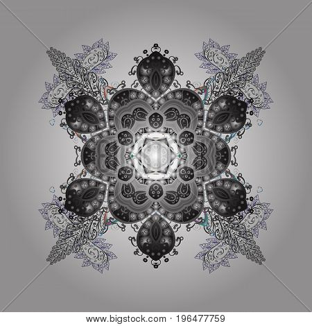 Winter snowflakes vector background. Repeated texture for surface wrapping paper Snowflake on colorful background.
