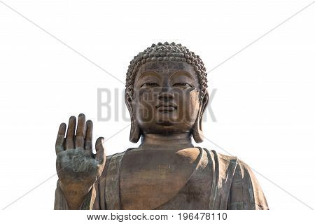 Tian Tan Buddha statue at Po Lin Monastery in Hong Kong. Isolated on white background.