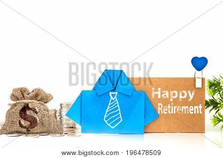 the blue origami blue shirt paper with white hand drawing necktie and Happy Retirement message on brown paper tag creative Pension and Retirement decoration concept
