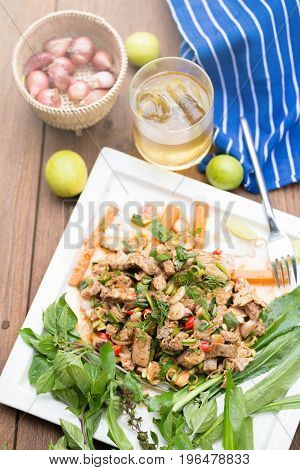 Hot And Spicy Grilled Pork Salad. Thai Beef Salad Recipe. Traditionally Eaten In Northeast Food Of T