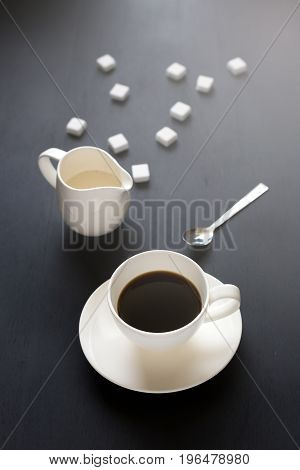 Coffee Time Break Cafe Leisure Relaxation On Dark Wooden Background
