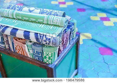Close up of Muslim prayer mat in mosque MaleMaldives