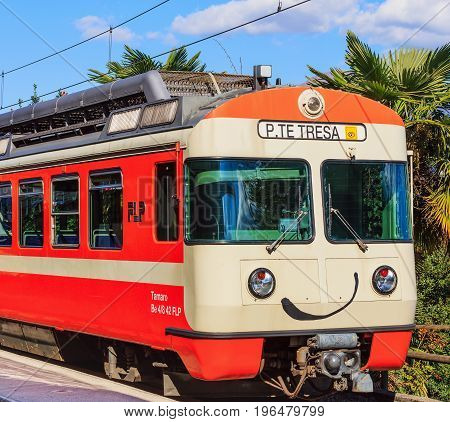 Lugano, Switzerland - 12 October, 2016: the locomotive of a train to Ponte Tresa at a platform of the railway station in the city of Lugano. Ponte Tresa is a town in the Swiss canton of Ticino, Lugano is the largest city of the same canton.
