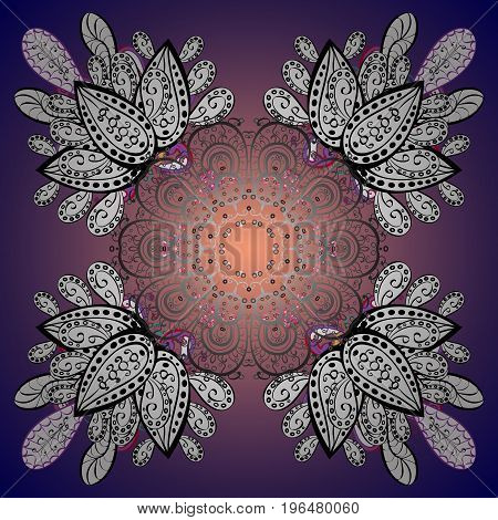 Winter Holiday Knitted Pattern with Circles Dots and Snowflakes On a Background. Ornamental vector background.