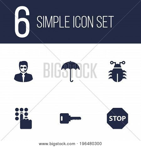 Set Of 6 Procuring Icons Set. Collection Of Keypad, Open, Virus And Other Elements.