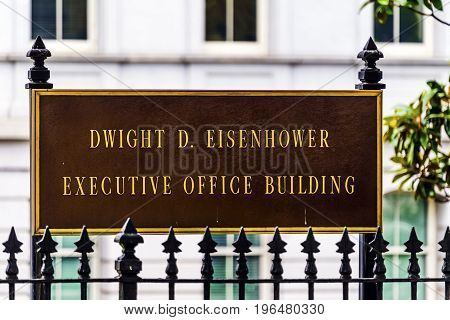 WASHINGTON DC - JUNE 22, 2017 Old Executive Office Building Dwight Eisenhower Building Vice President's Office Washington DC. Located next to White House built from 1871 to 1888