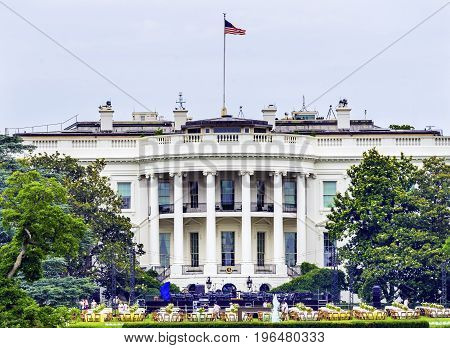 WASHINGTON DC - JUNE 22, 2017 Setting Up Trump Party White House Summer Pennsylvania Ave Washington DC