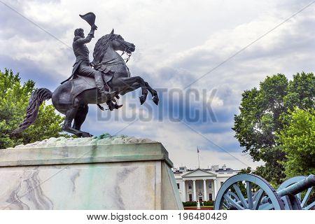 Jackson Statue Lafayette Park White House Pennsylvania Ave Washington DC. Statue created 1850 Clark Mills Sculptor