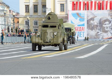 ST. PETERSBURG, RUSSIA - MAY 05, 2015: Soviet armored car BA-20 on the dress rehearsal of the solemn parade in honor of the Victory Day
