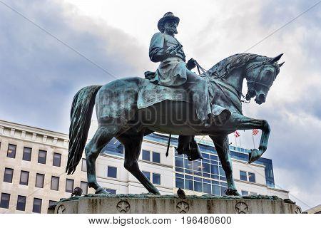 General James Mcpherson Memorial Civil War Statue Mcpherson Square Washington DC. Statue created 1876 sculptor Louis Rebisso. Brigadier Mcpherson killed at the Battle of Atlanta.