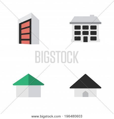 Vector Illustration Set Of Simple Real Icons. Elements Construction, Architecture, Base And Other Synonyms Construction, Building And House.