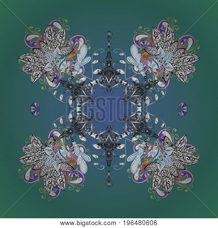 Vector illustration. Snowflake background. Vector christmas abstract colorful background with falling snowflake.