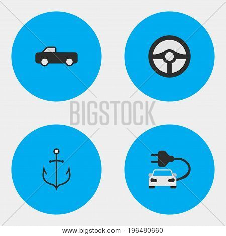 Elements Charge, Truck, Armature And Other Synonyms Automobile, Armature And Iron. Vector Illustration Set Of Simple Transportation Icons.