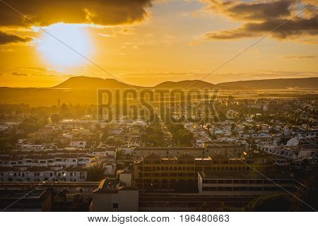 Sunset on Tenerife resort costa Silencio, Canary, Spain