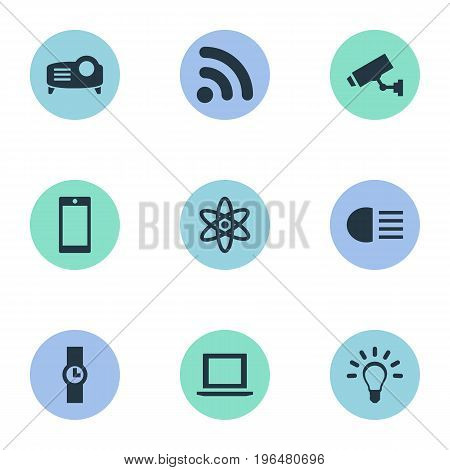 Elements Bulb, Wireless Connection, Hand Clock Synonyms Wristwatch, Atom And Physics. Vector Illustration Set Of Simple Technology Icons.