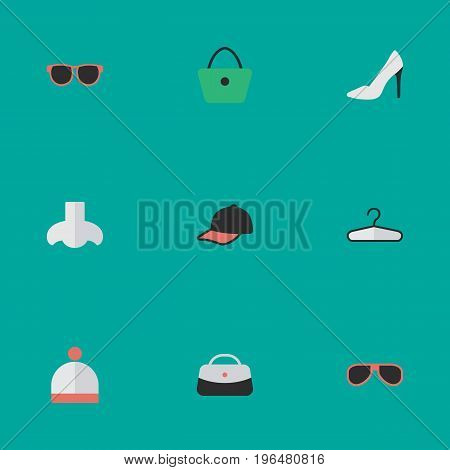 Vector Illustration Set Of Simple Equipment Icons. Elements Sport Hat, Sunglasses, Handbag Synonyms Eye, Handbag And Glasses.