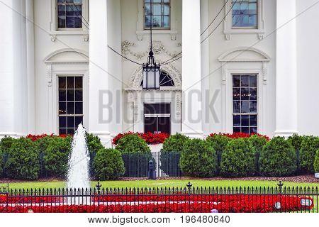 White House Door Red Flowers Chandelier Fountain Pennsylvania Ave Washington DC