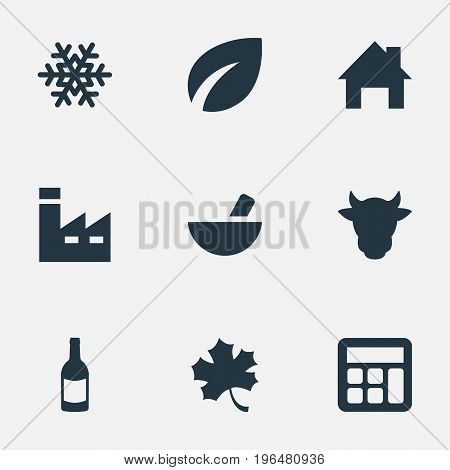 Vector Illustration Set Of Simple Agricultural Icons. Elements Livestock, Alcohol Beverage, Snowflake And Other Synonyms Wine, Ranch And Math.