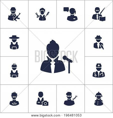 Collection Of Producer, Military, Medic And Other Elements. Set Of 13 Job Icons Set.