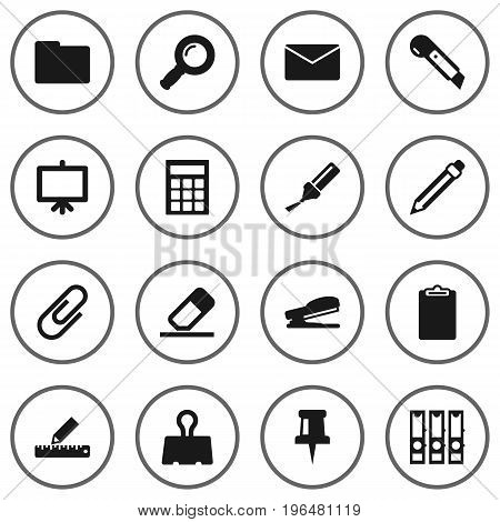 Set Of 16 Instruments Icons Set. Collection Of Pushpin, Drawing, Highlighter And Other Elements.