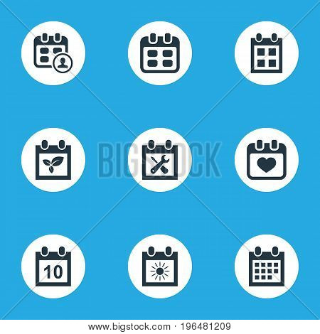 Vector Illustration Set Of Simple Calendar Icons. Elements Date Block, Heart, Renovation Tools And Other Synonyms Calendar, Plant And Reminder.