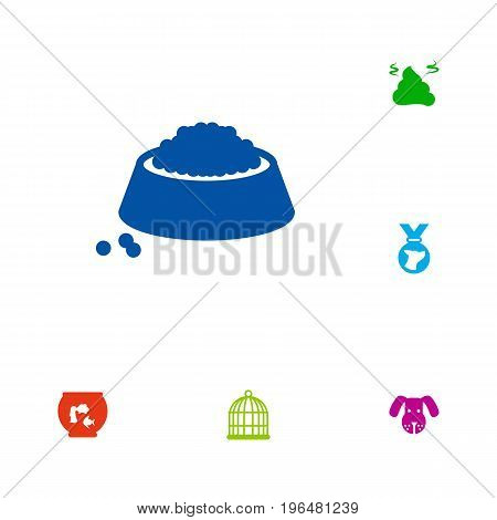 Collection Of Pile, Fishbowl, Head And Other Elements. Set Of 6 Animals Icons Set.