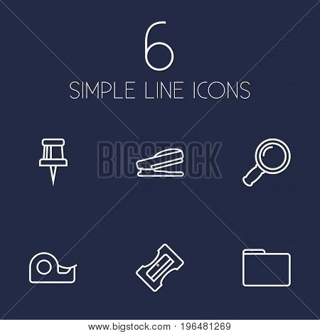 Set Of 6 Instruments Outline Icons Set. Collection Of Portfolio, Pushpin, Sticky And Other Elements.