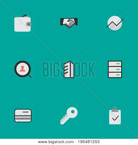 Elements Done, Opening, Apartment And Other Synonyms Pay, Wallet And Key. Vector Illustration Set Of Simple Trade Icons.