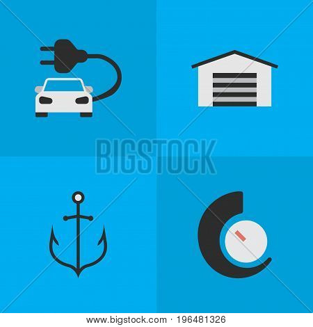 Elements Armature, Speedometer, Shed And Other Synonyms Car, Anchor And Counter. Vector Illustration Set Of Simple Transportation Icons.