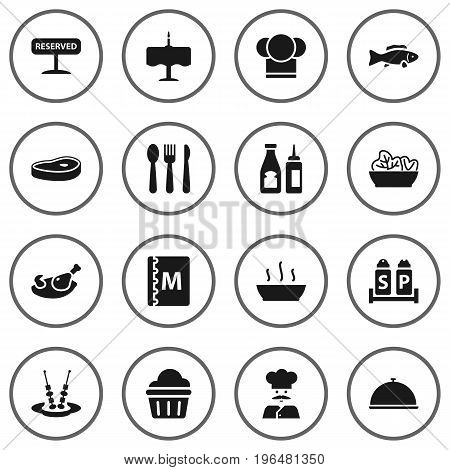 Collection Of Registered, Chef, Catsup And Other Elements. Set Of 16 Restaurant Icons Set.