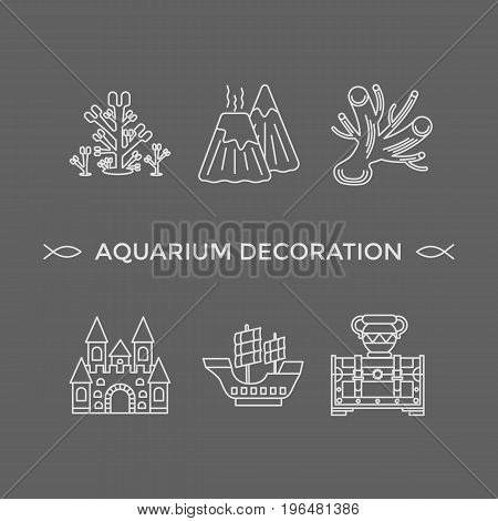 Thin line vector icons - aquarium decoration tools. Outline isolated signs of tools and decor elements for fish tank.