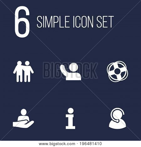 Set Of 6 Support Icons Set. Collection Of Info, Safe Ring, Undertake And Other Elements.