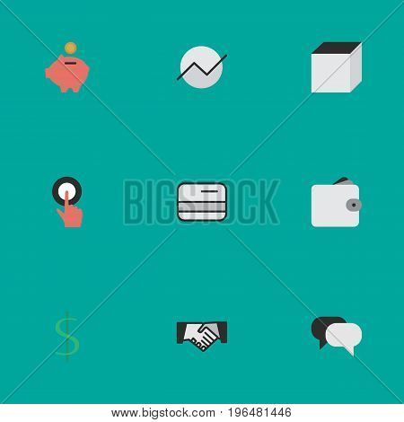 Vector Illustration Set Of Simple Job Icons. Elements Diagram, Finger Touching, Purse And Other Synonyms Hands, Wallet And Touching.