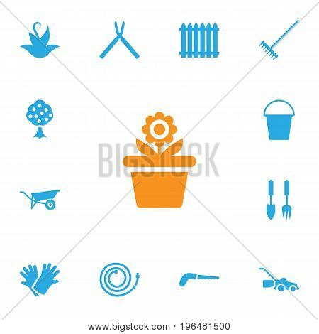 Set Of 13 Horticulture Icons Set. Collection Of Plant, Lawn Mower, Hacksaw And Other Elements.
