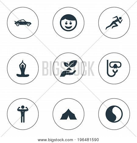 Elements Diver Equipment, Ecological Business, Jogging And Other Synonyms Diving, Karma And Meditation. Vector Illustration Set Of Simple Health Icons.