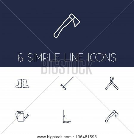 Collection Of Waterproof Shoes, Hatchet, Shears And Other Elements. Set Of 6 Household Outline Icons Set.