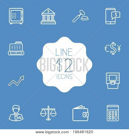 Set Of 12 Finance Outline Icons Set. Collection Of Cash Register, Electron Payment, Calculator And Other Elements.