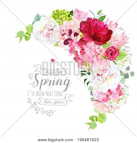 Blooming spring bouquet floral vector frame with peony, rose, protea, hydrangea, green plants. Pink, burgundy red and white flowers. Crescent shape bouquet. All elements are isolated and editable