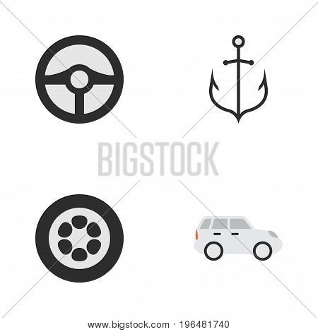 Elements Wheel, Armature, Steering And Other Synonyms Crossover, Iron And Steering. Vector Illustration Set Of Simple Transportation Icons.
