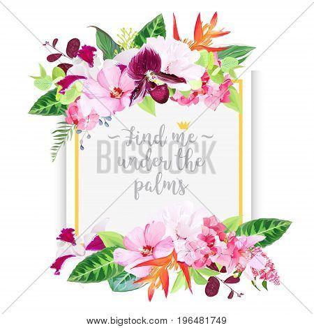 Fashion vector design square card. Exotic tropical flowers. Hibiscus, medinilla, paphiopedilum orchid, hydrangea, orange strelitzia, bird of paradise flower set. All elements are isolated and editable